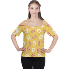 Bacon And Egg Pop Art Pattern Cutout Shoulder Tee