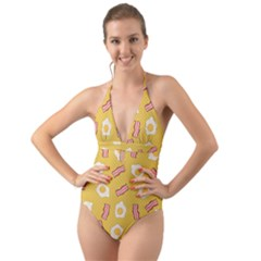 Bacon And Egg Pop Art Pattern Halter Cut Out One Piece Swimsuit