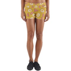 Bacon And Egg Pop Art Pattern Yoga Shorts