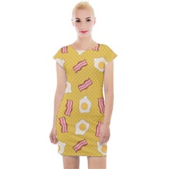 Bacon And Egg Pop Art Pattern Cap Sleeve Bodycon Dress