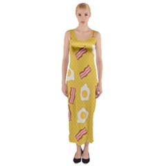Bacon And Egg Pop Art Pattern Fitted Maxi Dress