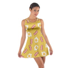 Bacon And Egg Pop Art Pattern Cotton Racerback Dress