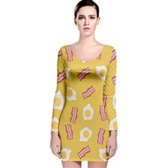 Bacon And Egg Pop Art Pattern Long Sleeve Velvet Bodycon Dress