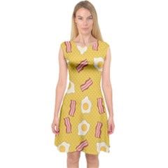 Bacon And Egg Pop Art Pattern Capsleeve Midi Dress