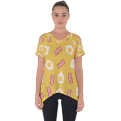 Bacon And Egg Pop Art Pattern Cut Out Side Drop Tee