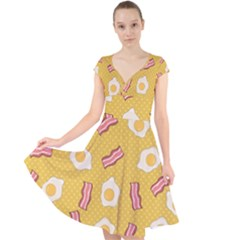 Bacon And Egg Pop Art Pattern Cap Sleeve Front Wrap Midi Dress
