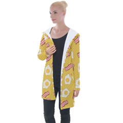 Bacon And Egg Pop Art Pattern Longline Hooded Cardigan