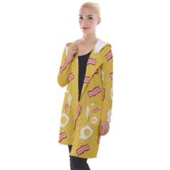 Bacon And Egg Pop Art Pattern Hooded Pocket Cardigan