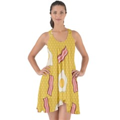 Bacon And Egg Pop Art Pattern Show Some Back Chiffon Dress