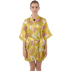 Bacon And Egg Pop Art Pattern Quarter Sleeve Kimono Robe