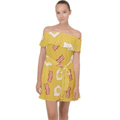 Bacon And Egg Pop Art Pattern Off Shoulder Chiffon Dress by Valentinaart