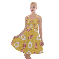 Bacon And Egg Pop Art Pattern Halter Party Swing Dress