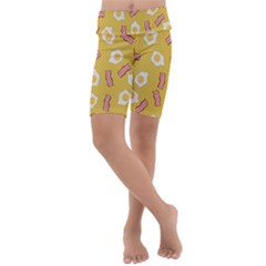 Bacon And Egg Pop Art Pattern Kids  Lightweight Velour Cropped Yoga Leggings