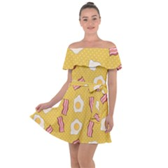 Bacon And Egg Pop Art Pattern Off Shoulder Velour Dress