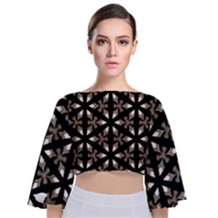 Earth Tone Floral  Tie Back Butterfly Sleeve Chiffon Top by kenique
