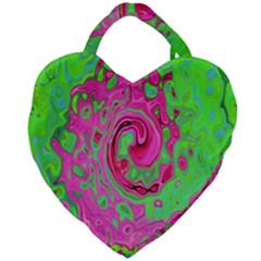 Groovy Abstract Green And Red Lava Liquid Swirl Giant Heart Shaped Tote by myrubiogarden