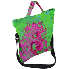 Groovy Abstract Green And Red Lava Liquid Swirl Fold Over Handle Tote Bag by myrubiogarden