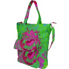 Groovy Abstract Green And Red Lava Liquid Swirl Shoulder Tote Bag by myrubiogarden