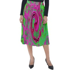 Groovy Abstract Green And Red Lava Liquid Swirl Classic Velour Midi Skirt  by myrubiogarden