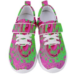 Groovy Abstract Green And Red Lava Liquid Swirl Women s Velcro Strap Shoes by myrubiogarden