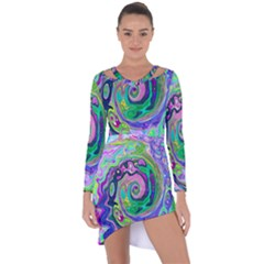 Groovy Abstract Aqua And Navy Lava Liquid Swirl Asymmetric Cut-out Shift Dress