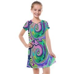 Groovy Abstract Aqua And Navy Lava Liquid Swirl Kids  Cross Web Dress by myrubiogarden