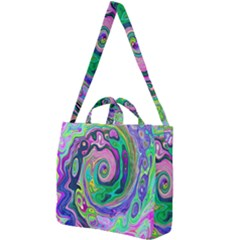Groovy Abstract Aqua And Navy Lava Liquid Swirl Square Shoulder Tote Bag