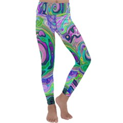 Groovy Abstract Aqua And Navy Lava Liquid Swirl Kids  Lightweight Velour Classic Yoga Leggings