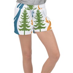 Forest Christmas Tree Spruce Women s Velour Lounge Shorts