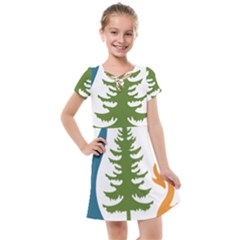 Forest Christmas Tree Spruce Kids  Cross Web Dress by Desi8484