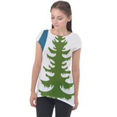 Forest Christmas Tree Spruce Cap Sleeve High Low Top by Desi8477