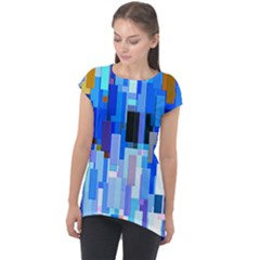 Color Colors Abstract Colorful Cap Sleeve High Low Top