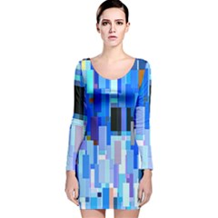 Color Colors Abstract Colorful Long Sleeve Velvet Bodycon Dress