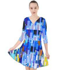 Color Colors Abstract Colorful Quarter Sleeve Front Wrap Dress