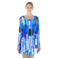 Color Colors Abstract Colorful Long Sleeve Velvet V Neck Dress