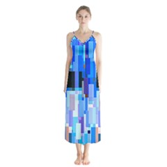 Color Colors Abstract Colorful Button Up Chiffon Maxi Dress by Pakrebo