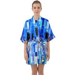 Color Colors Abstract Colorful Quarter Sleeve Kimono Robe