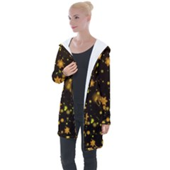 Background Black Blur Colorful Longline Hooded Cardigan
