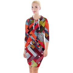 Maze Mazes Fabric Fabrics Color Quarter Sleeve Hood Bodycon Dress by Pakrebo