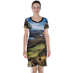 Landscape Quairaing Scotland Short Sleeve Nightdress by Pakrebo