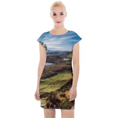 Landscape Quairaing Scotland Cap Sleeve Bodycon Dress by Pakrebo
