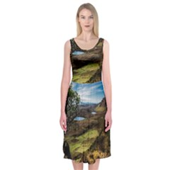 Landscape Quairaing Scotland Midi Sleeveless Dress by Pakrebo