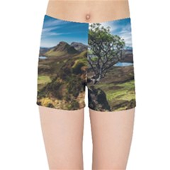 Landscape Quairaing Scotland Kids  Sports Shorts by Pakrebo