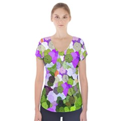 Art Flower Flowers Fabric Fabrics Short Sleeve Front Detail Top by Pakrebo