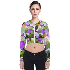 Art Flower Flowers Fabric Fabrics Zip Up Bomber Jacket by Pakrebo