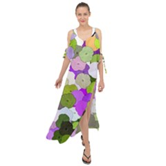 Art Flower Flowers Fabric Fabrics Maxi Chiffon Cover Up Dress