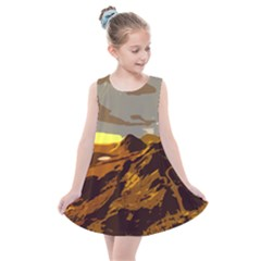 Scotland Monti Mountains Mountain Kids  Summer Dress by Pakrebo