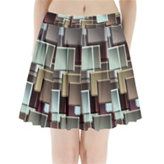 Texture Artwork Mural Murals Art Pleated Mini Skirt by Pakrebo