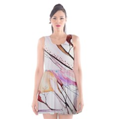 Art Painting Abstract Canvas Scoop Neck Skater Dress