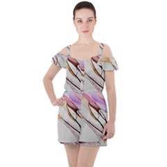 Art Painting Abstract Canvas Ruffle Cut Out Chiffon Playsuit
